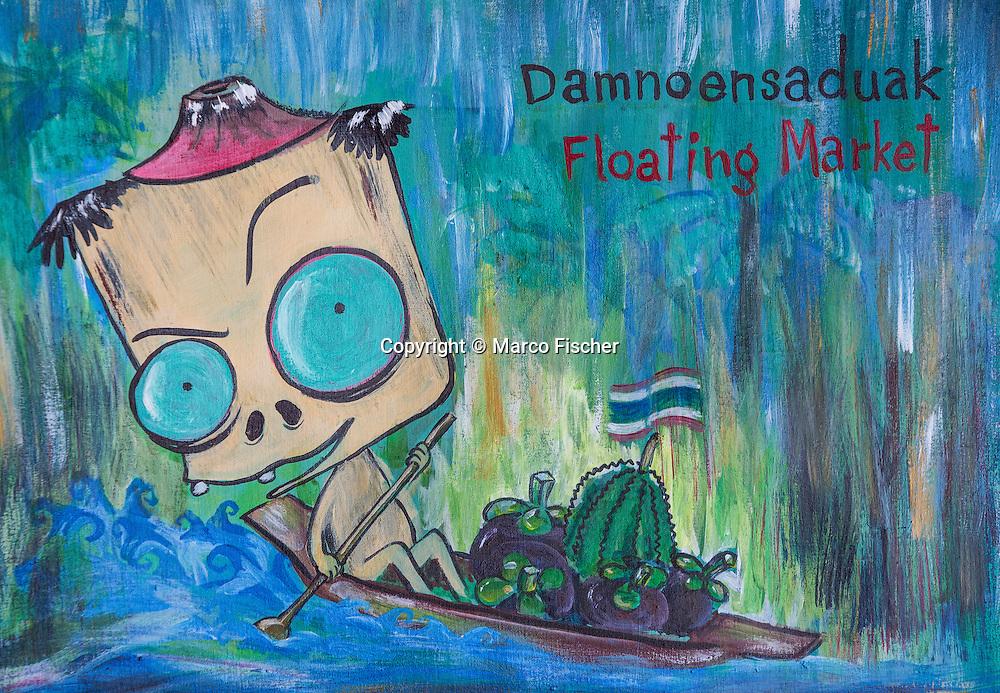 Painting at Floating Market Damnoen Saduak.