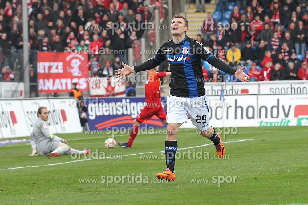 22.02.2015, Frankfurter Volksbank Stadion, Frankfurt, GER, 2. FBL, FSV Frankfurt vs 1. FC Kaiserslautern, 22. Runde, im Bild TOR: Zlatko Dedic (FSV Frankfurt) trifft zum 2:0 und jubelt // during the 2nd German Bundesliga 22nd round match betweenFSV Frankfurt and 1. FC Kaiserslautern at the Frankfurter Volksbank Stadion in Frankfurt, Germany on 2015/02/22. EXPA Pictures &copy; 2015, PhotoCredit: EXPA/ Eibner-Pressefoto/ Roskaritz<br /> <br /> *****ATTENTION - OUT of GER*****