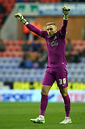 Blackburn Rovers Goalkeeper Jason Steele looks on. Skybet football league championship match , Wigan Athletic v Blackburn Rovers at the DW Stadium in Wigan, Lancs on Saturday 17th Jan 2015.<br /> pic by Chris Stading, Andrew Orchard sports photography.