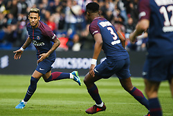 September 30, 2017 - Paris, France - Paris Saint-Germain's Brazilian forward Neymar (L) runs after scoring a free kick during the French L1 football match between Paris Saint-Germain and Bordeaux at the Parc des Princes stadium in Paris on September 30, 2017. (Credit Image: © Geoffroy Van Der Hasselt/NurPhoto via ZUMA Press)