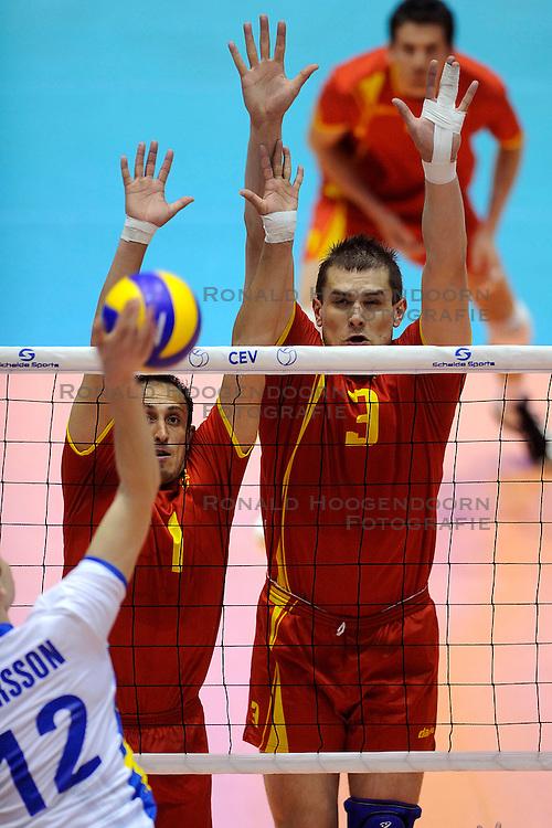 29-05-2010 VOLLEYBAL: EK KWALIFICATIE MACEDONIE - ZWEDEN: ROTTERDAM<br /> Macedonie verslaat Zweden met 3-0 / Vladimir Stevovski and Gjoko Josifov<br /> &copy;2010-WWW.FOTOHOOGENDOORN.NL