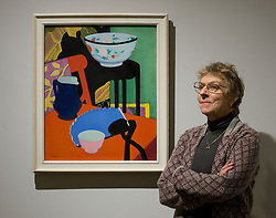 Artist FCB Cadell's great-niece Selina Cadell with his painting 'The Blue Fan' at the launch of the Scottish National Gallery of Modern Art major exhibition 'A New Era: Scottish Modern Art 1900-1950'<br /> <br /> © Dave Johnston/ EEm