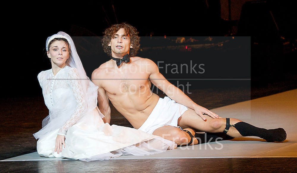 Solo for Two<br /> at the Coliseum, London, Great Britain <br /> Press photocall<br /> 6th August 2014 <br /> Press photocall / rehearsal <br /> with <br /> Natalia Osipova<br /> Ivan Vasiliev<br /> <br /> and guest artist <br /> Elizabeth McGorian<br /> <br /> dancing in Facada (from God's Garden) by Arthur Pita<br /> <br /> music by Frank Moon <br /> design by Jean-Mark Puissant <br /> <br /> <br /> Photograph by Elliott Franks <br /> Image licensed to Elliott Franks Photography Services