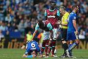West Ham United midfielder Dimitri Payet (27) is booked and receives a caution and a yellow card for the foul on Leicester City forward Jamie Vardy (9)  during the Barclays Premier League match between Leicester City and West Ham United at the King Power Stadium, Leicester, England on 17 April 2016. Photo by Simon Davies.