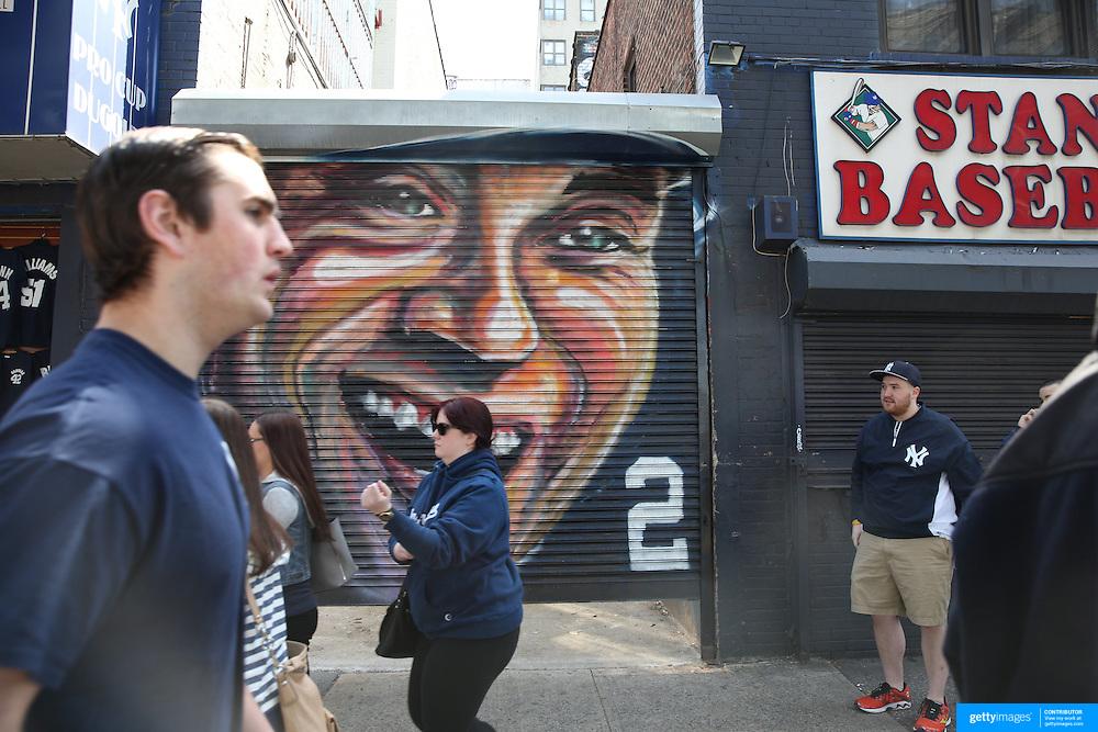 A painted portrait of Derek Jeter near Yankee Stadium before the New York Yankees Vs Toronto Blue Jays season opening day at Yankee Stadium, The Bronx, New York. 6th April 2015. Photo Tim Clayton