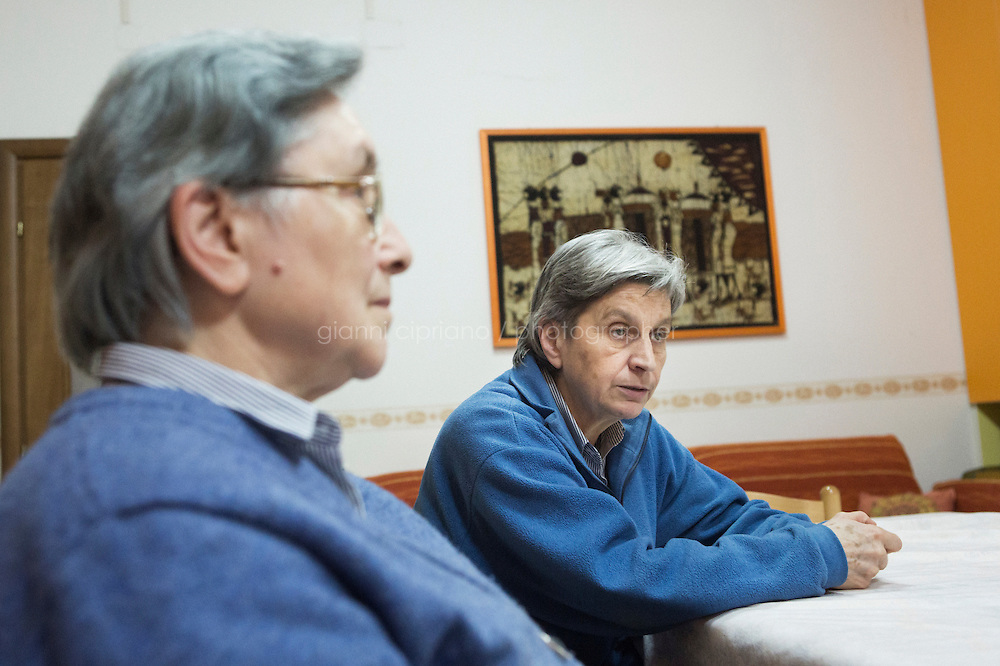 CASERTA, ITALY - 25 FEBRUARY 2015: Sister Rita Giaretta (center) is here during an interview at Casa Rut, a shelter for abused young immigrant women in Caserta, Italy, on February 25th 2015.<br /> <br /> Casa Rut was founded in 1995 and it is promoted and managed by the Ursuline Sisters of the Sacred Heart of Mary of Breganze (Vicenza, Italy).  Casa Rut's goal is to provide young immigrant women a familiar environment where  they are helped to protect and free themselves, and to undertake a common path aiming to the integration in Italy's society.