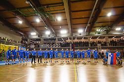 National team of Slovenia during anthem ceremony before friendly handball match between Slovenia and Nederland, on October 25, 2019 in Športna dvorana Hardek, Ormož, Slovenia. Photo by Blaž Weindorfer / Sportida