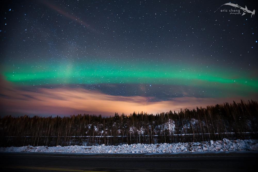 Northern lights (aurora borealis) just north of Fairbanks, Alaska.