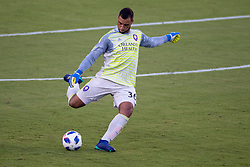 August 4, 2018 - Orlando, FL, U.S. - ORLANDO, FL - AUGUST 04: Orlando City goalkeeper Earl Edwards Jr (36) kicks the ball during the soccer match between the Orlando City Lions and the New England Revolution on August 4, 2018 at Orlando City Stadium in Orlando FL. (Photo by Joe Petro/Icon Sportswire) (Credit Image: © Joe Petro/Icon SMI via ZUMA Press)