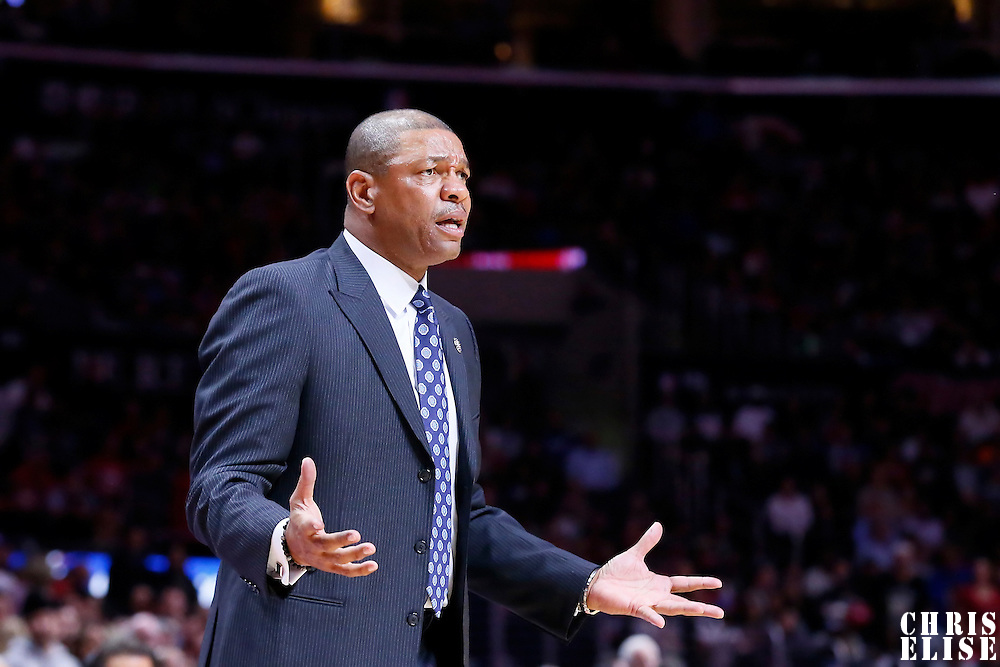 10 November 2014: Los Angeles Clippers head coach Doc Rivers reacts during the San Antonio Spurs 89-85 victory over the Los Angeles Clippers, at the Staples Center, Los Angeles, California, USA.