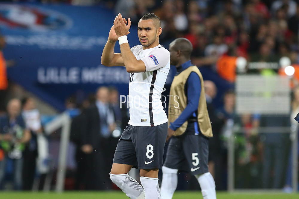 France Midfielder Dimitri Payet applauds the fans during the Euro 2016 Group A match between Switzerland and France at Stade Pierre Mauroy, Lille, France on 19 June 2016. Photo by Phil Duncan.