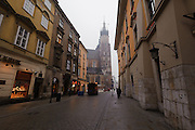 Florianska looking toward St. Mary's Cathedral and market Square, early morning, Krakow, Poland