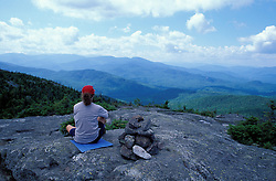 Hiking. On top of Caribou Mtn. Looking into Caribou-Speckled Mountain Wilderness.  White Mountain N.F., NH