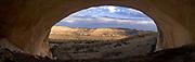 Panoramic view from Fishmouth Cave, an Anasazi ruin on the Comb Ridge, San Juan County, near Bluff, Utah.