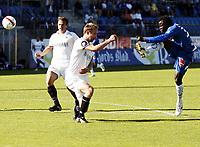 Fotball , 7. juni 2010 , Tippeligaen , Eliteserien , Sandefjord - Stabæk 1-1<br /> <br /> Malick Mane , Sandefjord fyrer av et skudd forbi Jon Inge Høiland