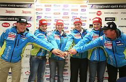 Marko Jurjec, Mateja Robnik, Marusa Ferk, Vanja Brodnik, Ana Drev and Bozo Jaklin at press conference of Women Slovenian alpine team before the World Championship in Val d'Isere, France, on January 26, 2009, in Ljubljana, Slovenia. (Photo by Vid Ponikvar / Sportida).