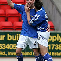 St Johnstone v Queen of the South..06.08.05<br />Ryan Stevenson celebrates his goal with Stephen Dobbie<br /><br />Picture by Graeme Hart.<br />Copyright Perthshire Picture Agency<br />Tel: 01738 623350  Mobile: 07990 594431