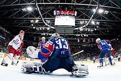 Robert Kristan, goalkeeper of Slovenia saves a shot during ice-hockey match between Slovenia and Belarus of Group G in Relegation Round of IIHF 2011 World Championship Slovakia, on May 8, 2011 in Orange Arena, Bratislava, Slovakia. (Photo by Matic Klansek Velej / Sportida)