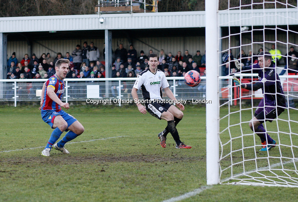 4 January 2015 FA Cup 3rd round - Dover Athletic v Crystal Palace ;  Kevin Doyle scores the fourth goal for Palace.<br /> Photo: Mark Leech