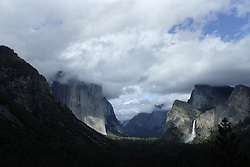 April 26, 2017 - Yosemite National Park, California, U.S. Much larger than normal snowfall over the winter of 2016-2017 left Yosemite National Park with an overabundance of water and several road closures in the valley  The southern entrance and road leading to Yosemite Valley will reopen Monday May 1, 2017. Biig Oak Flat Road had been impassable for two months because of a landslide, forcing travelers to take a 22-mile detour.  Bridal Veil Falls cascades over rock in this photo from the Tunnel View parking lot at the entrance to Yosemite Valley. (Credit Image: © John Gastaldo via ZUMA Wire)