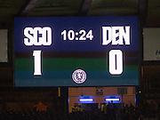 Scoreboard - Scotland v Denmark, International challenge match at Hampden Park<br /> <br />  - &copy; David Young - www.davidyoungphoto.co.uk - email: davidyoungphoto@gmail.com