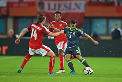 VIENNA, AUSTRIA - Thursday, October 6, 2016: Wales' Neil Taylor in action against Austria during the 2018 FIFA World Cup Qualifying Group D match at the Ernst-Happel-Stadion. (Pic by David Rawcliffe/Propaganda)