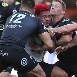 DURBAN, SOUTH AFRICA - MARCH 10: Andre Esterhuizen of the Cell C Sharks and Robert du Preez of the Cell C Sharks tackling Lomano Lemeki of the HITO-Communications Sunwolves during the Super Rugby match between Cell C Sharks and Sunwolves at Jonsson Kings Park Stadium on March 10, 2018 in Durban, South Africa. (Photo by Steve Haag/Gallo Images)