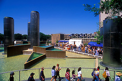 Stock photo of people enjoying the fountain in Tranquility Park in downtown Houston Texas