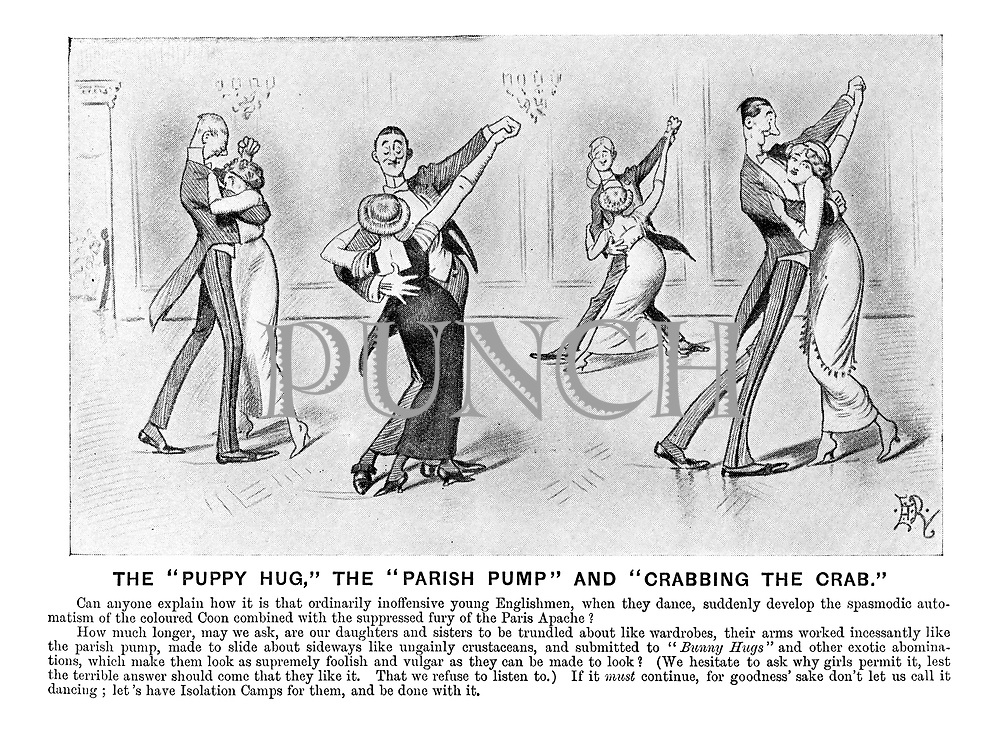 """The """"Puppy Hug,"""" the """"Parish Pump"""" and """"Crabbing the Crab."""" (an Edwardian cartoon shows a parody of the new styles of dancing)"""