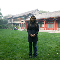 "BEIJING, OCT.2010 : ""Jingzi"" poses in the estate of Mme Song Qing-Ling in Beijing."