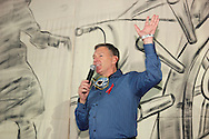 Aids Resource Center president and CEO Bill Hardy speaks during Masquerage 2012 in the Roundhouse at the Montgomery County Fairgrounds in Dayton, Saturday, October 20, 2012..