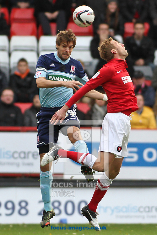 Picture by David Horn/Focus Images Ltd +44 7545 970036.03/11/2012.Rob Hulse (right) of Charlton Athletic and Jonathan Woodgate (left) of Middlesbrough during the npower Championship match at The Valley, London.