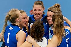 26-10-2019 NED: Talentteam Papendal - Sliedrecht Sport, Ede<br /> Round 4 of Eredivisie volleyball - Lisanne Baak #9 of Sliedrecht Sport, Ana Rekar #11 of Sliedrecht Sport