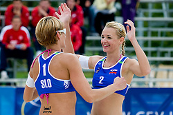 Andreja Vodeb and Martina Jakob of Slovenia celebrating at CEV European Continental Beach Volleyball Cup for Olympic Qualification, on September 4, 2010, in Zrece, Slovenia. (Photo by Matic Klansek Velej / Sportida)