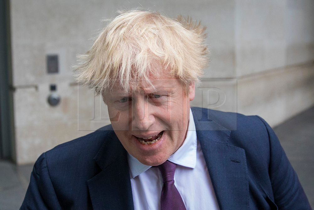 © Licensed to London News Pictures. 18/03/2018. London, UK. Foreign Secretary Boris Johnson leaves BBC Broadcasting House after appearing on The Andrew Marr Show. Johnson said that the UK is 'in the Kremlin's crosshairs' and announced that representatives from the Organisation for the Prohibition of Chemical Weapons will be coming to the UK from the Hague to assist the investigation into the poisoning of former spy Sergei Skripal. Photo credit: Rob Pinney/LNP