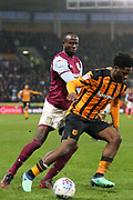 Hull City defender Ola Aina (34) in possession  during the EFL Sky Bet Championship match between Hull City and Aston Villa at the KCOM Stadium, Kingston upon Hull, England on 31 March 2018. Picture by Mick Atkins.