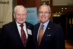 The Ireland - U.S. Council Spring Corporate Lunch on Friday, April 17, 2015 in Clyde Court Hotel, Lansdowne Road, Ballsbridge, Dublin.<br /> <br /> Roddy Feely,	The Ireland-U.S. Council.<br /> Kevin O'Malley, 	U.S. Embassy.