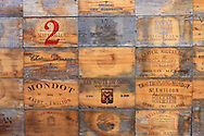 Wine box crates of St. Emilion, France. Saint Emilion is the oldest wine area of the Bordeaux region in France. Saint Emilion wines are considered the most robust of the Bordeaux. They are generous, very colored, and reach their maturity quicker than other red Bordeaux.