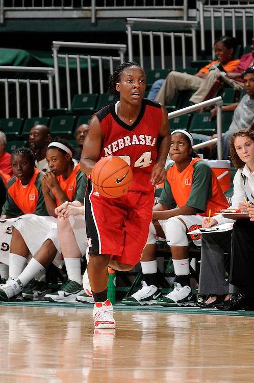 December 5, 2009: Dominique Kelley of the Nebraska Cornhuskers in action during the NCAA basketball game between the Miami Hurricanes and the Nebraska Cornhuskers . The Cornhuskers defeated the 'Canes 76-71.