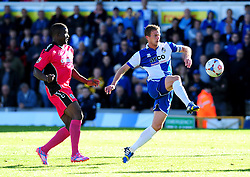 Bristol Rovers' Lee Mansell is challenged by Dover Athletic's Solomon Taiwo - Photo mandatory by-line: Neil Brookman - Mobile: 07966 386802 - 04/10/2014 - SPORT - Football - Bristol - Memorial Stadium - Bristol Rovers v Dover - Vanarama Football Conference