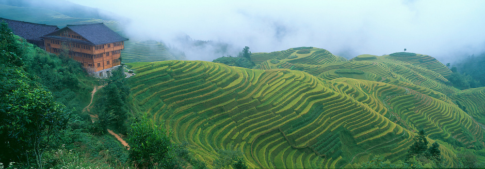 Li-An Lodge with a panoramic view of rice terraces, Longsheng, Guangxi Province, China