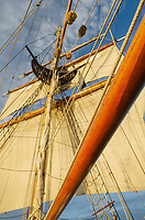 Mast rigging and sails of Hawaiian Chieftan, a Square Topsail Ketch. Owned and operated by the Grays Harbor Historical Seaport, Aberdeen, Washington