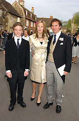 Left to right, the HON.CHARLES ASTOR, his sister the HON.CAMILLA ASTOR and MR DOMINIC TRUSTED  at the wedding of Laura Parker Bowles to Harry Lopes held at Lacock, Wiltshire on 6th May 2006.<br />
