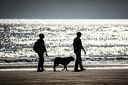 © Licensed to London News Pictures. 01/07/2015. Scarborough, UK. Dog walkers on Scarborough beach in the morning sun. Britain is set to sizzle in temperatures of up to 34C (93F) today, with forecasters predicting the hottest day for several years. A tropical air mass moving from North Africa, Spain and Portugal means that we could be hotter than Rio de Janeiro. Photo credit : Andrew McCaren/LNP