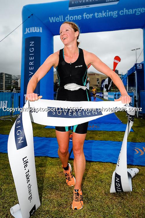 Rebecca Elliot wins the Sovereign Tri Series, Waterfront, Wellington, New Zealand. Saturday 14 March 2015. Copyright Photo: Mark Tantrum/www.Photosport.co.nz