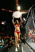 Cologne,Germany  Ultimate Fighting Championship. The  Ring card girl signals for round three as  Stefan Struve (NED)beats Dennis Stojnic.