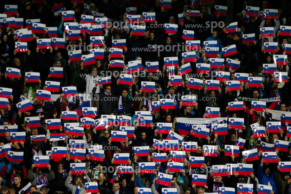 Supporters of Slovenia with Slovenian flags during the UEFA EURO 2016 Play-off for Final Tournament, Second leg between Slovenia and Ukraine, on November 17, 2015 in Stadium Ljudski vrt, Maribor, Slovenia. Photo by Urban Urbanc / Sportida