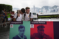 HONG KONG, CHINA - Monday, July 17, 2017: Liverpool's Philippe Coutinho Correia and Alberto Moreno share a joke as they arrive at the Ritz-Carlton Hotel in Kowloon, Hong Kong, ahead of the Premier League Asia Trophy 2017. (Pic by FA Premier League/Pool/Propaganda)