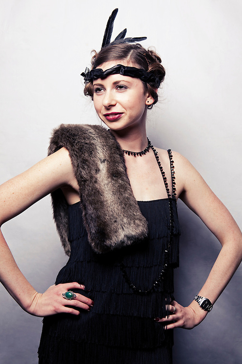 Guests at a 1920's Prohibition night held in London pose for portraits. 2009