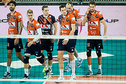 Apostolos Armenakis of ACH, Maksim Buculjevic of ACH, Jani Kovacic of ACH, Jan Kozamernik of ACH, Ziga Stern of ACH and Jan Pokersnik of ACH during volleyball match between ACH Volley (SLO) and PGE Skra Belchatow (POL) in Round #4 of 2017 CEV Volleyball Champions League, on January 19, 2017 in Arena Stozice, Ljubljana, Slovenia. Photo by Vid Ponikvar / Sportida